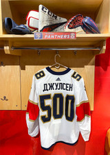 Florida Panthers #58 Noah Juulsen Game-Used 2021 Bobrovsky's 500 Games Warmup Jersey (Autographed)