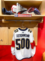 Florida Panthers #20 Aleksi Heponiemi Game-Used 2021 Bobrovsky's 500 Games Warmup Jersey (Autographed)