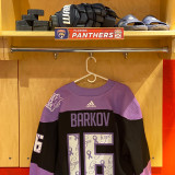 Florida Panthers #16 Aleksander Barkov Game-Used 2021 HFC Game Warmup Jersey