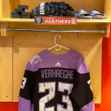 Florida Panthers #23 Carter Verhaeghe Game-Used 2021 HFC Game Warmup Jersey