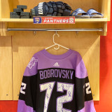 Florida Panthers #72 Sergei Bobrovsky Game-Used 2021 HFC Game Warmup Jersey