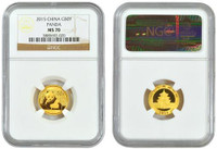China 2015 Panda 1/10 oz Gold Coin - NGC MS-70