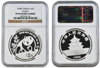 China 1990 Panda 1 oz Silver Coin - NGC PF-69 Ultra Cameo