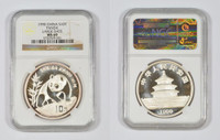 China 1990 Panda 1 oz Silver Coin - Large Date - NGC MS-69