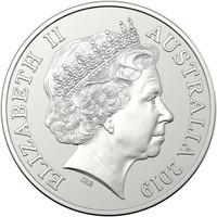 Australia 2019 Kangaroo 1 oz Silver BU Coin with Singapore Merlion Privy Mark