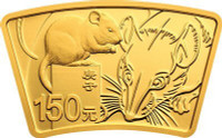 China 2020 Year of the Rat 10 grams Gold and 30 grams Silver Proof 2-Coin Set - Fan Shaped