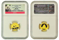 China 2014 Panda 1/10 oz Gold Coin - NGC MS-69 Early Release - Panda Label