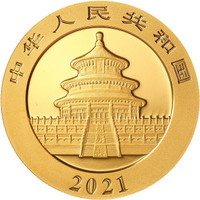 China 2021 Panda Gold 15 grams BU Coin