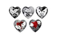 China 2016-2020 Panda 1 oz Silver Commemorative 5-pc Set - Heart Shaped