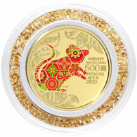 Macau 2020 Year of the Rat 1/2 oz Gold Proof Coin with Swarovski Crystal Ring - Color
