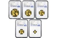 China 2021 Panda Gold BU 5-Coin Set - NGC MS-70