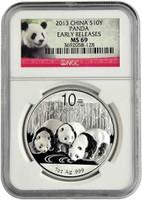 China 2013 Panda 1 oz Silver Coin - NGC MS-69 Early Release - Panda Label