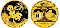 China 2013 Panda - World Money Fair Berlin - 5 oz Gold Proof Medal