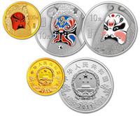 China 2011 Peking Opera 1/4 oz Gold and 1 oz Silver Proof 3-pc Set - Facial Mask - Series II