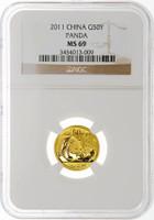 China 2011 Panda 1/10 oz Gold Coin - NGC MS-69