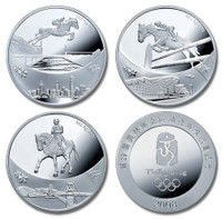 China 2008 Beijing Olympic Games - Equestrian 1 oz Silver 3-pc Medal Set