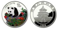 China 1999 Panda 1 oz Silver Colorized Proof Coin