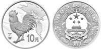 China 2017 Year of the Rooster 30 gram Silver Coin -Proof