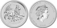 Australia 2018 Year of the Dog 1 oz Silver BU Coin - Series II