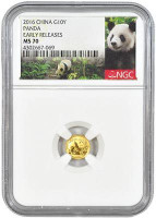 China 2016 Panda 1 gram Gold BU Coin - NGC MS-70 Early Release