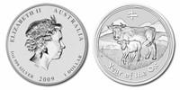 Australia 2009 Year of the Ox 1 oz Silver BU Coin - Series II