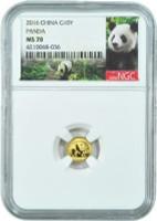 China 2016 Panda 1 gram Gold BU Coin - NGC MS-70 - Panda Label