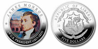 Liberia 2010 Presidential Series - 005th President James Monroe Five Dollar dollar5 Coin Layered with .999 Silver