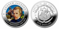 Liberia 2010 Presidential Series - 007th President Andrew Jackson Five Dollar dollar5 Coin Layered with .999 Silver