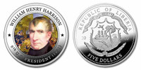 Liberia 2010 Presidential Series - 009th President William Henry Harrison dollar5 Dollar Coin Layered with .999 Silver