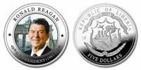 Liberia 2010 Presidential Series - 040th President Ronald Reagan dollar5 Dollar Coin Layered with .999 Silver