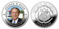 Liberia 2010 Presidential Series - 043rd President George W Bush dollar5 Dollar Coin Layered with .999 Silver