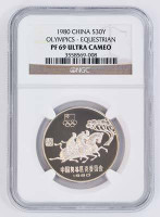 China 1980 Olympics Equestrian Silver Coin NGC PF-69 Ultra Cameo