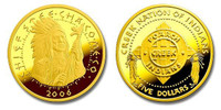 Poarch Creek Indians 2006 Chief Steeh-tcha-ko-me-co Five Dollar 1/5 oz Gold Proof Coin