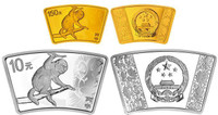 China 2016 Year of the Monkey 1/3 oz Gold and 1 oz Silver 2-pc Coin - Fan Shaped