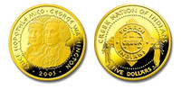 Poarch Creek Indians 2005 Chief Hopothle Mico and George Washington Five Dollar 1/5 oz Gold Proof Coin