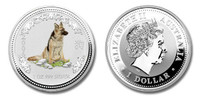Australia 2006 Year of the Dog 1 oz Silver Colorized Coin