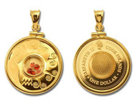 Cook Islands - Aquarius Gemstone Zodiac Gold Plated Silver Proof Coin with Matching Bezel