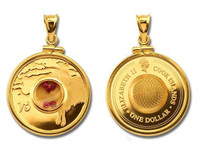 Cook Islands - Capricorn Gemstone Zodiac Gold-Plated Silver Proof Coin in Matching Bezel