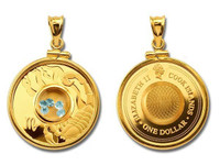 Cook Islands - Scorpio Gemstone Zodiac Gold-Plated Silver Proof Coin in Matching Bezel