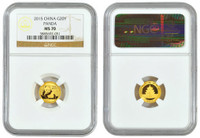 China 2015 Panda 1/20 oz Gold Coin - NGC MS-70 Early Release