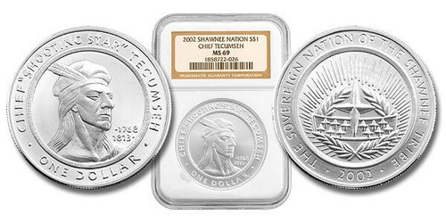 Shawnee Nation 2002 Tecumseh 1 oz Silver Dollar BU Coin NGC MS-69
