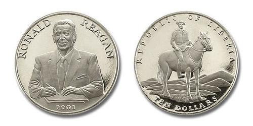 Liberia 2001 President Ronald Reagan dollar10 Brilliant Uncirculated Coin