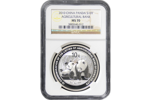 China 2010 Panda 1 oz Silver Coin - Agricultural Bank of China Co. Ltd. - NGC MS-70