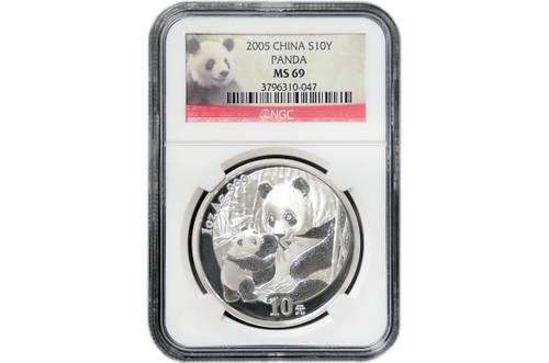 China 2005 Panda 1 oz Silver Coin - NGC MS-69 Panda Label
