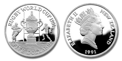 New Zealand 1991 Rugby World Cup 5 Dollars Silver Proof