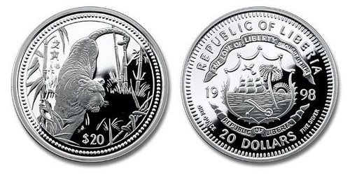 Liberia 1998 Year of the Tiger 1 oz Silver Proof Coin
