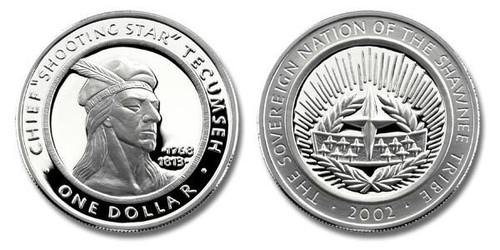 Shawnee Nation 2002 Tecumseh Silver Dollar 1 oz Silver Proof Coin