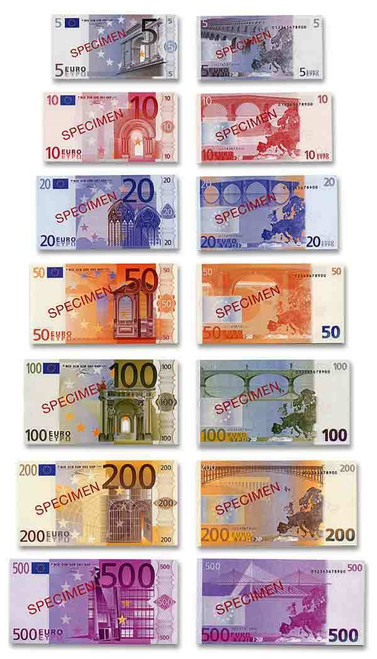 Euros 2001 Specimen Notes 7-Piece Set Crisp Uncirculated