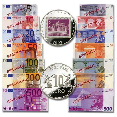 Euro Specimen Notes 7-Piece set and 10 Euro Precursor Coin