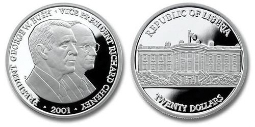 Liberia 2001 Bush-Cheney 1 oz Silver Proof Coin